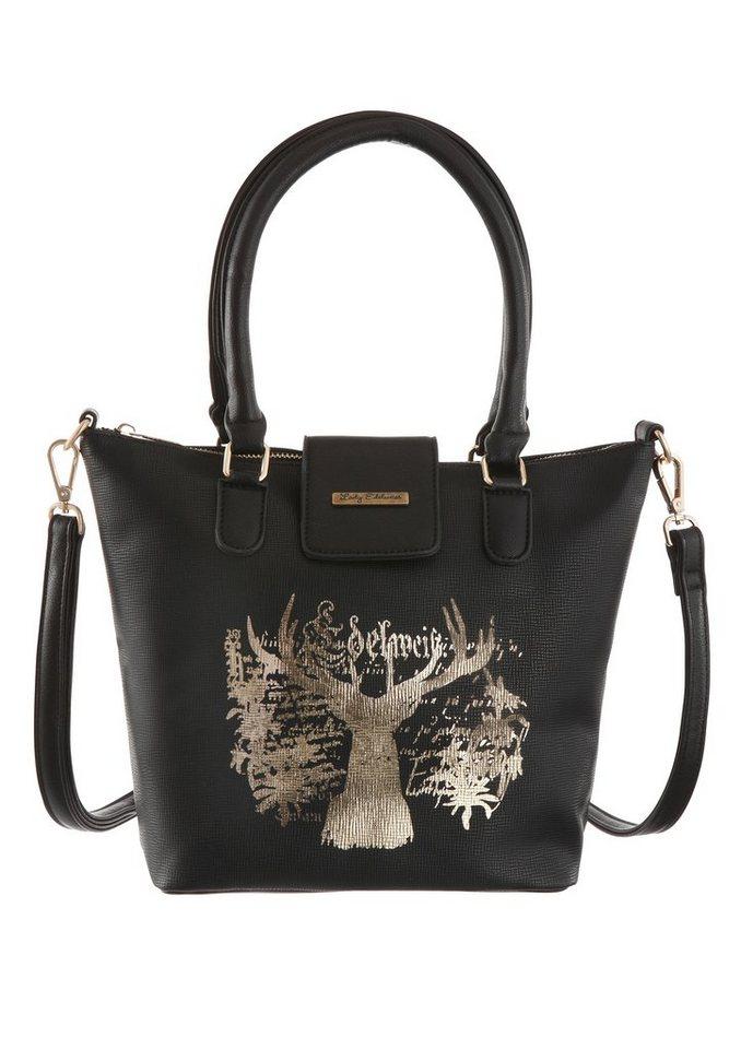 Lady Edelweiss Trachtentasche mit edlem Hirschdruck in schwarz