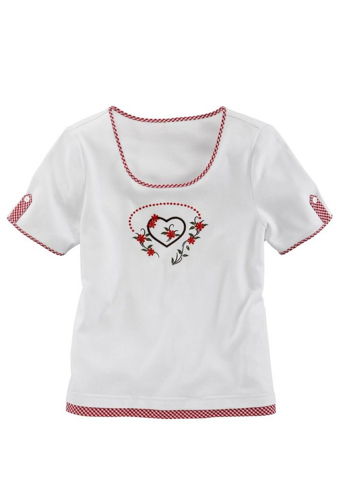 Trachtenshirt Damen mit Karobesatz in weiss/rot