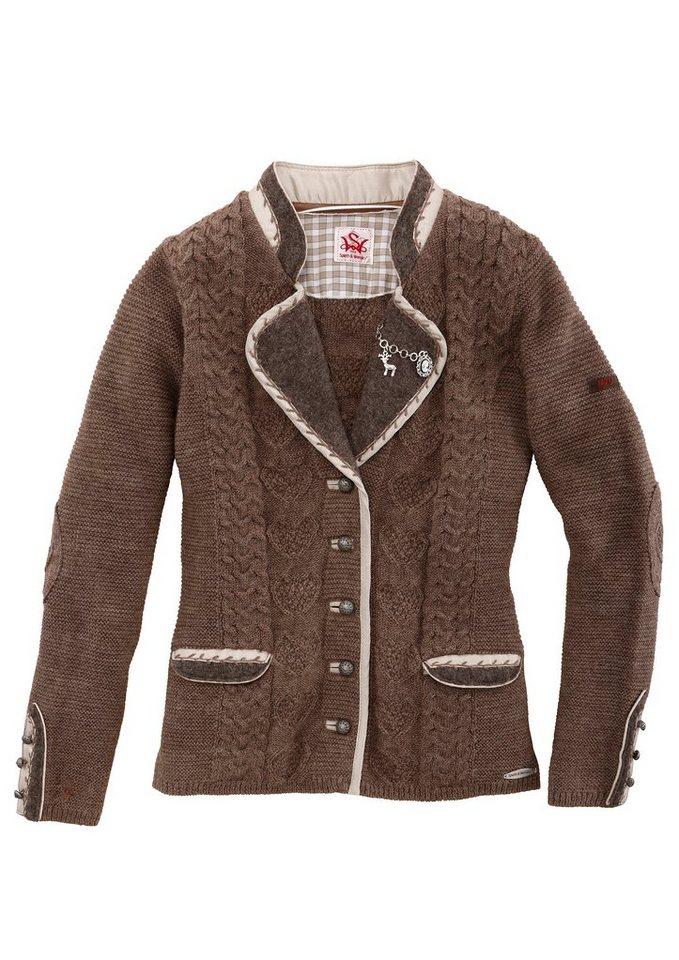 Spieth & Wensky Trachten-Strickjacke Damen tailliert geschnitten in braun