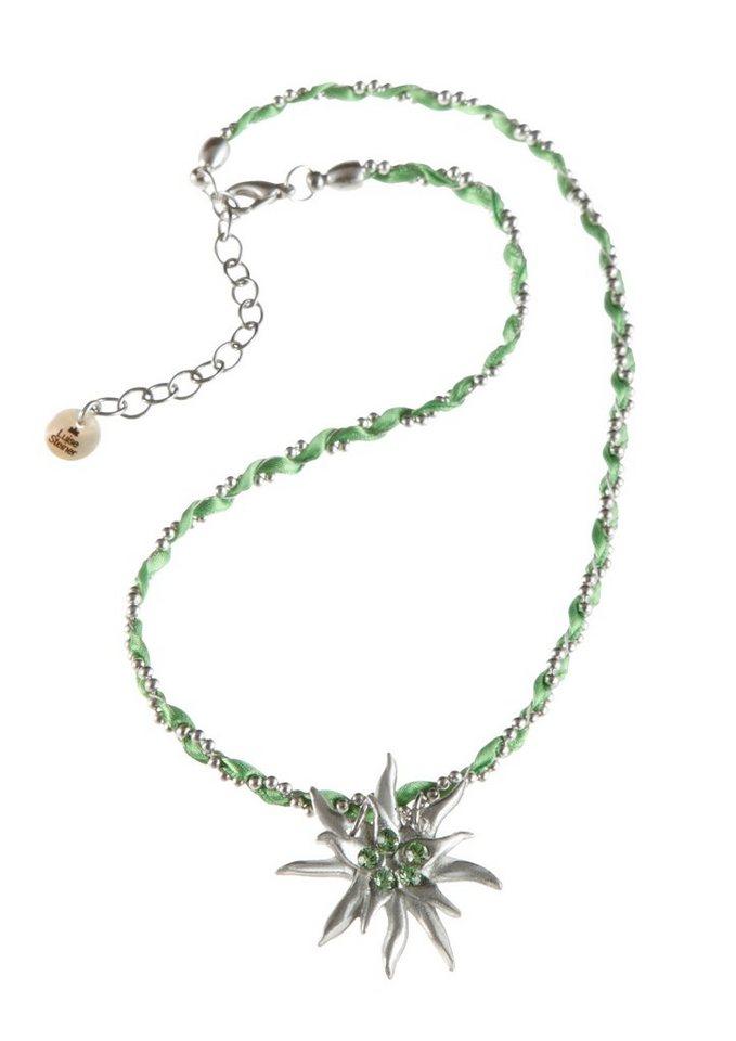 Trachten-Halskette mit Edelweißanhänger in silberfarben