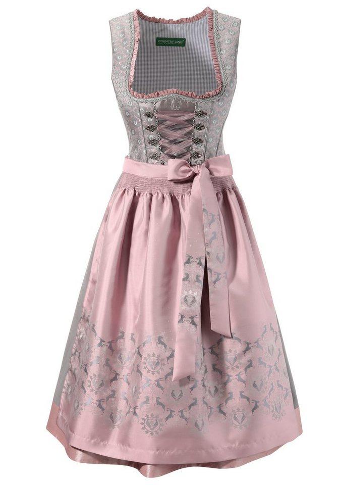 Damen Country Line Dirndl midi mit dekorativer Bänderschnürung grau | 04250703727735
