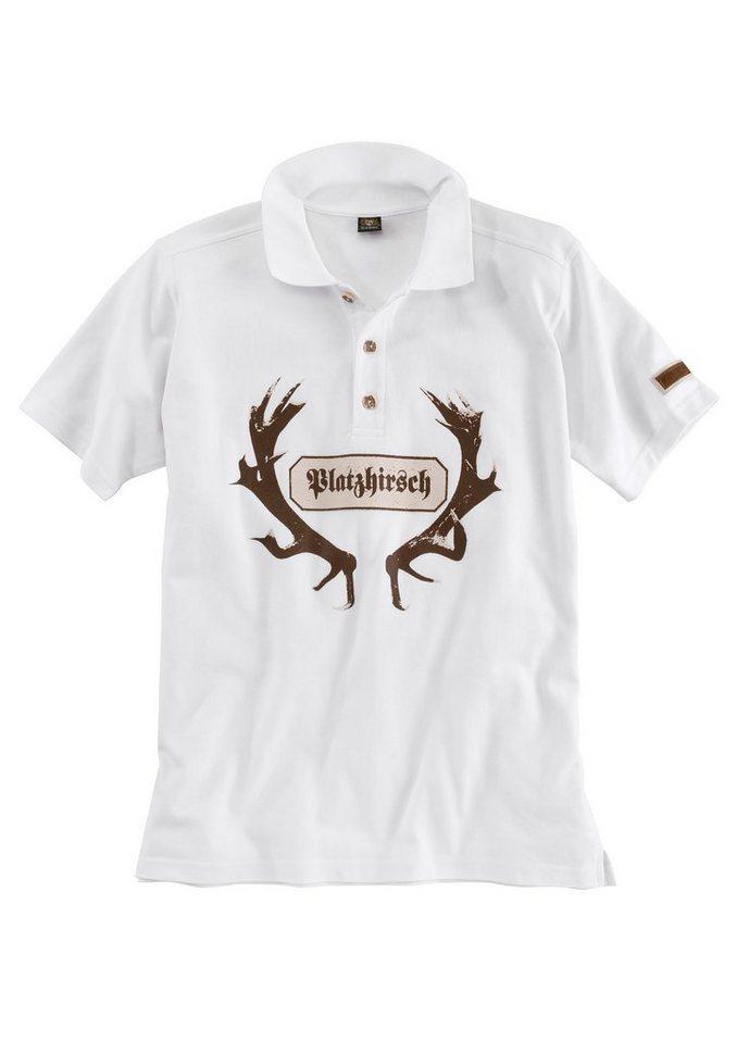 OS-Trachten Trachten-Poloshirt Herren mit auffälligem Print in weiß