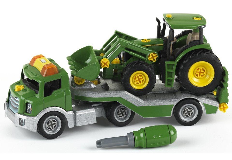 Klein Spielzeugauto, »Transporter mit John Deere Traktor« in grün