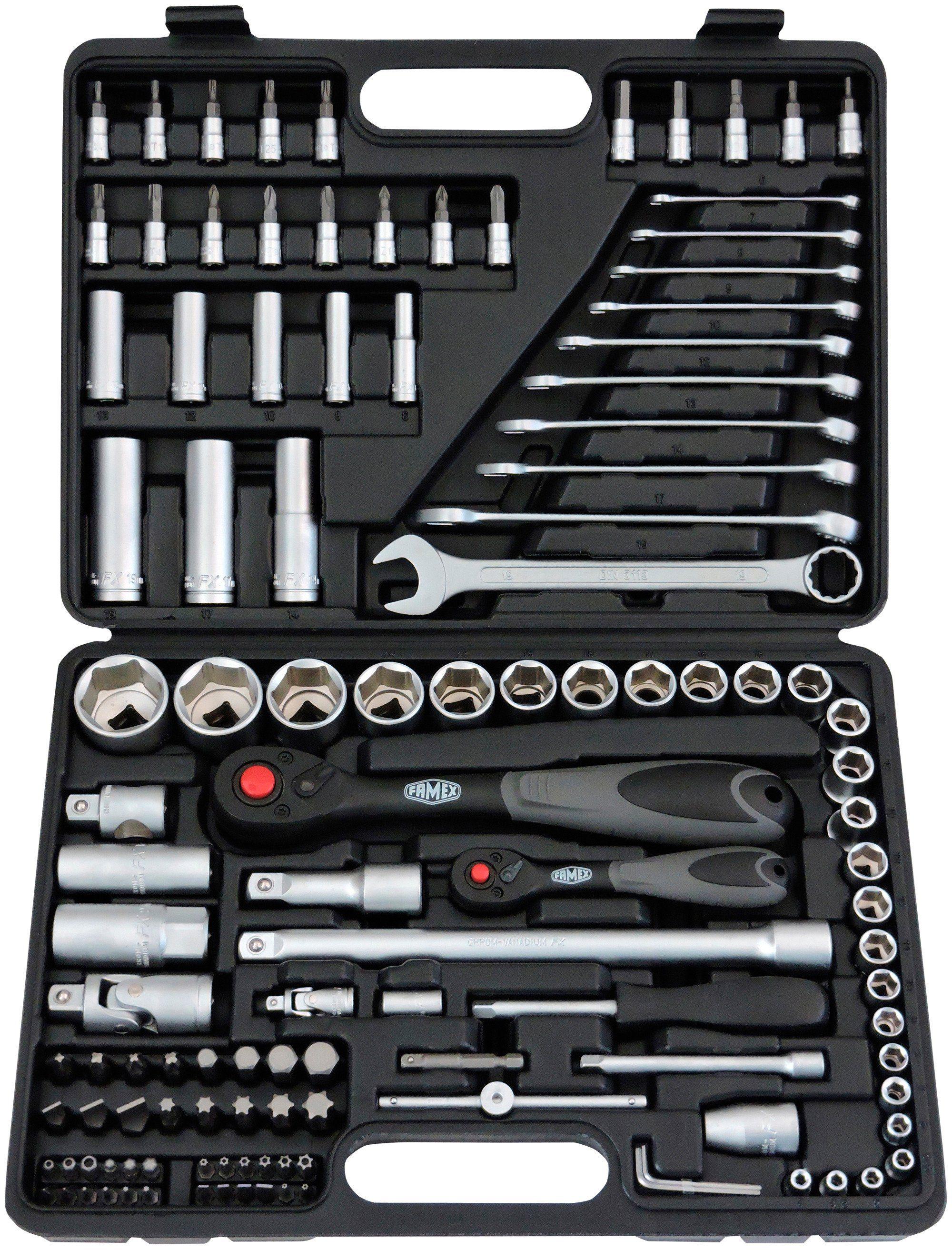 Famex Steckschlüsselsatz »568-46« mit 72-Zahn-Feinzahnknarren, 4-32 mm, 120-teilig