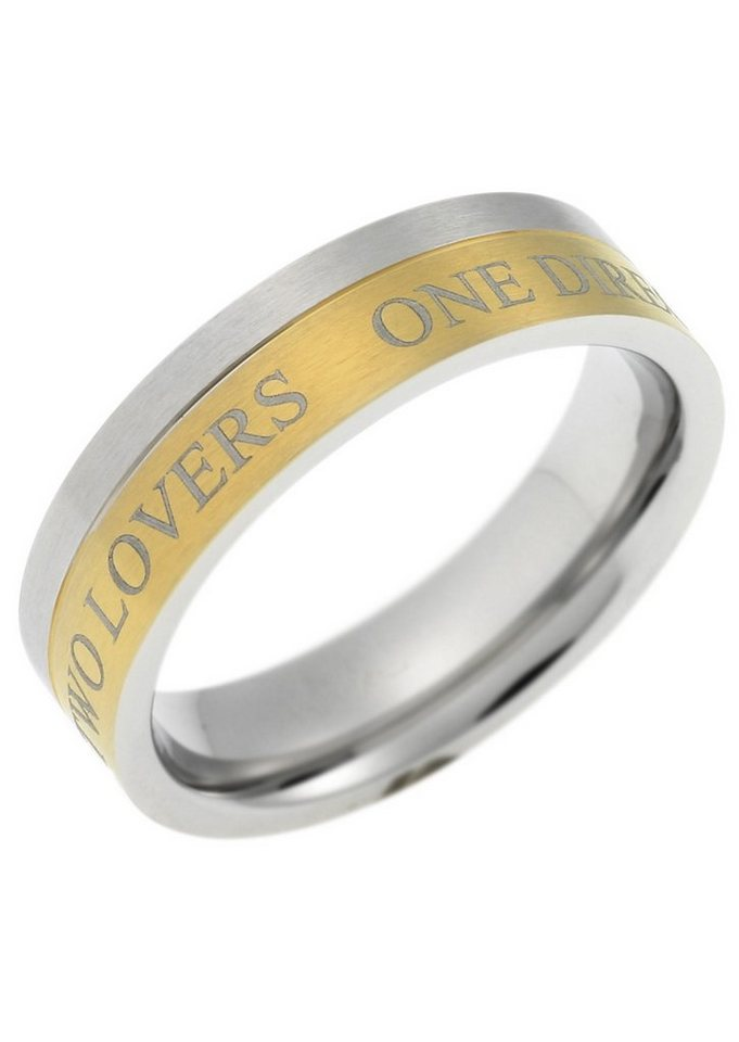 "Core Partnerschmuck: Partnerring mit Außengravur ""TWO LOVERS ONE DIRECTION"" in bicolor"