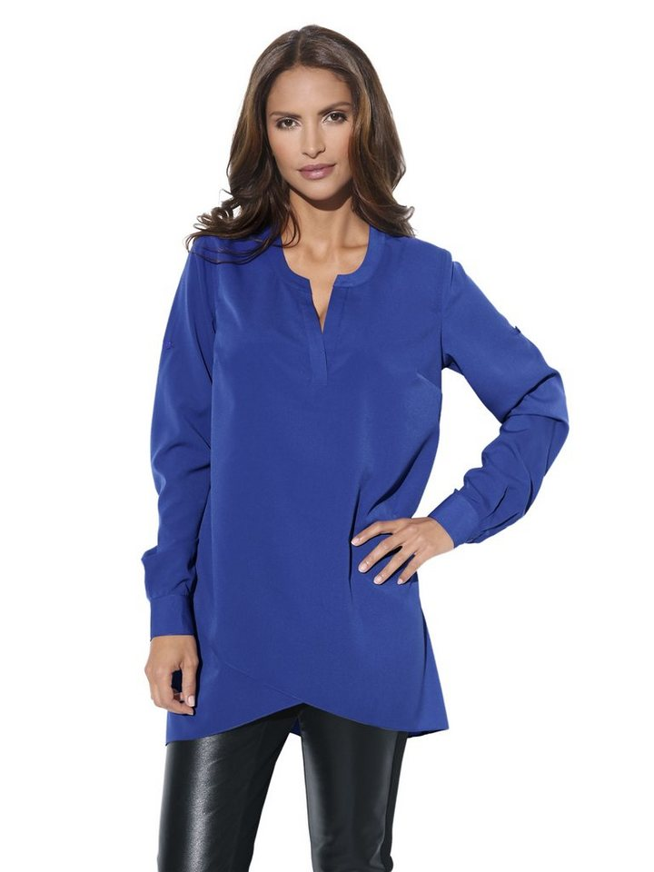 Longbluse in royalblau