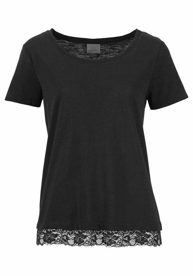 vero moda t shirt hope mit spitze am saum kaufen otto. Black Bedroom Furniture Sets. Home Design Ideas