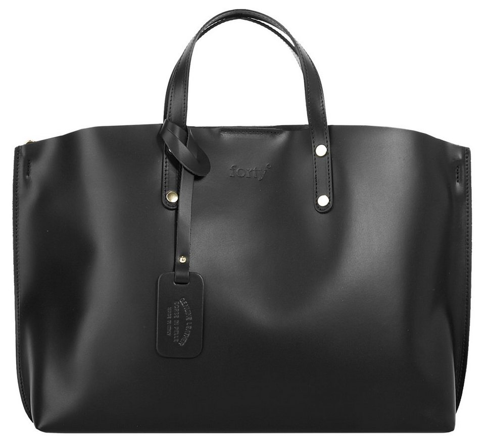 Forty degrees Leder Damen Shopper in schwarz