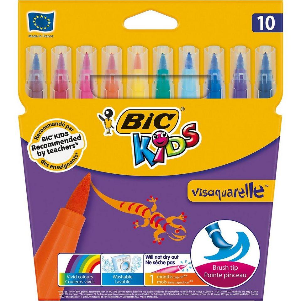 BIC Kids Visaquarelle Aquarell-Filzstifte, 10 Farben