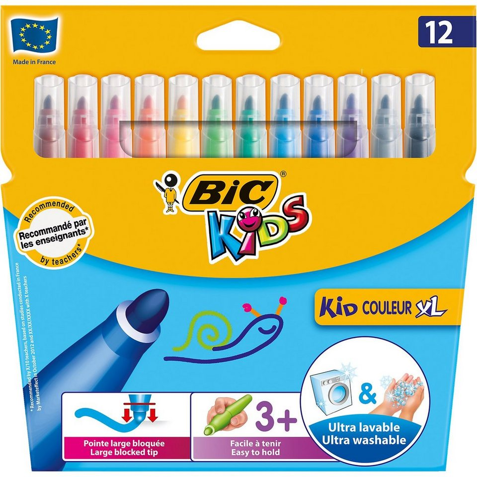 BIC Kids Kid Couleur XL Filzstifte, 12 Farben