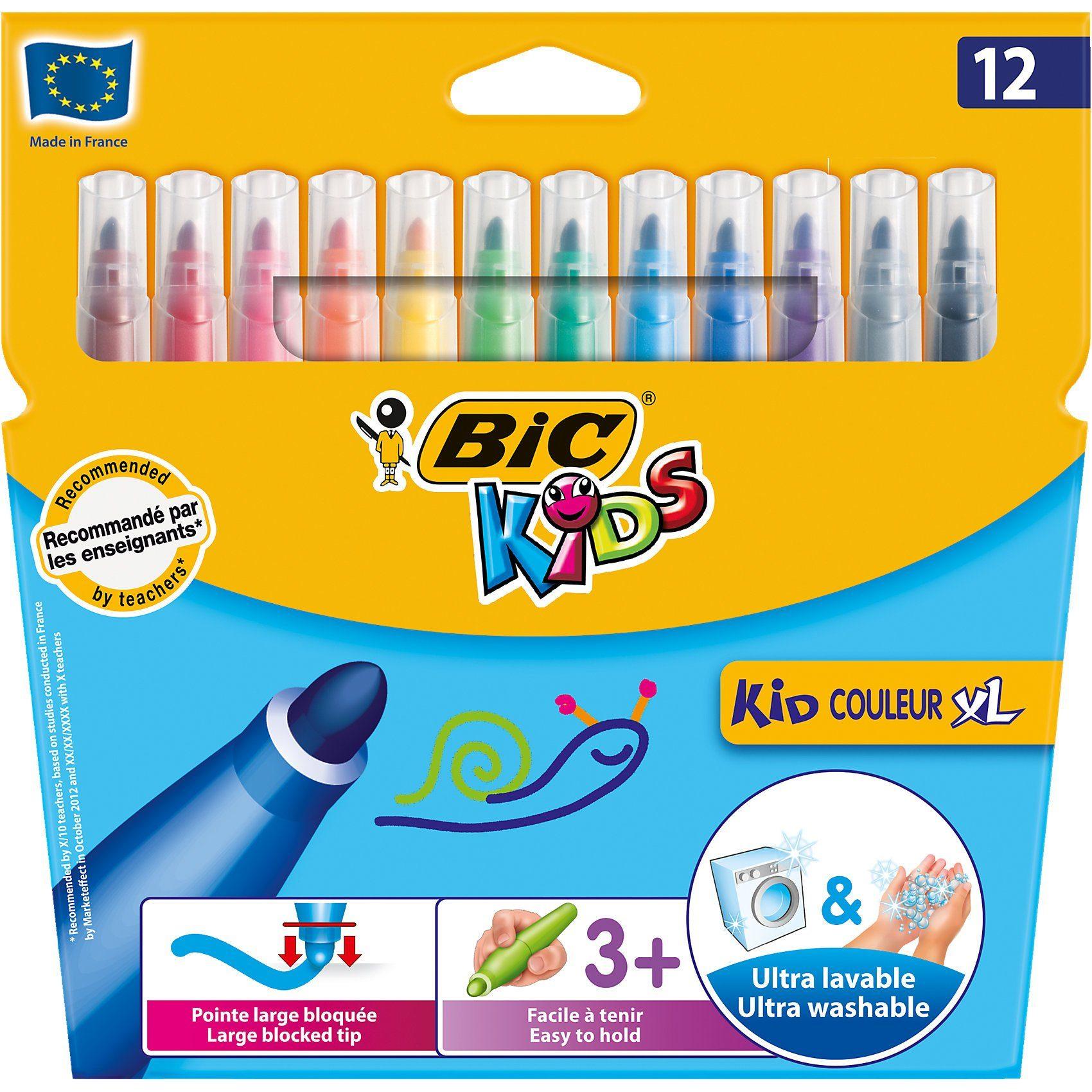 BIC Kids Kid Couleur XL Filzstifte, 12 Farben