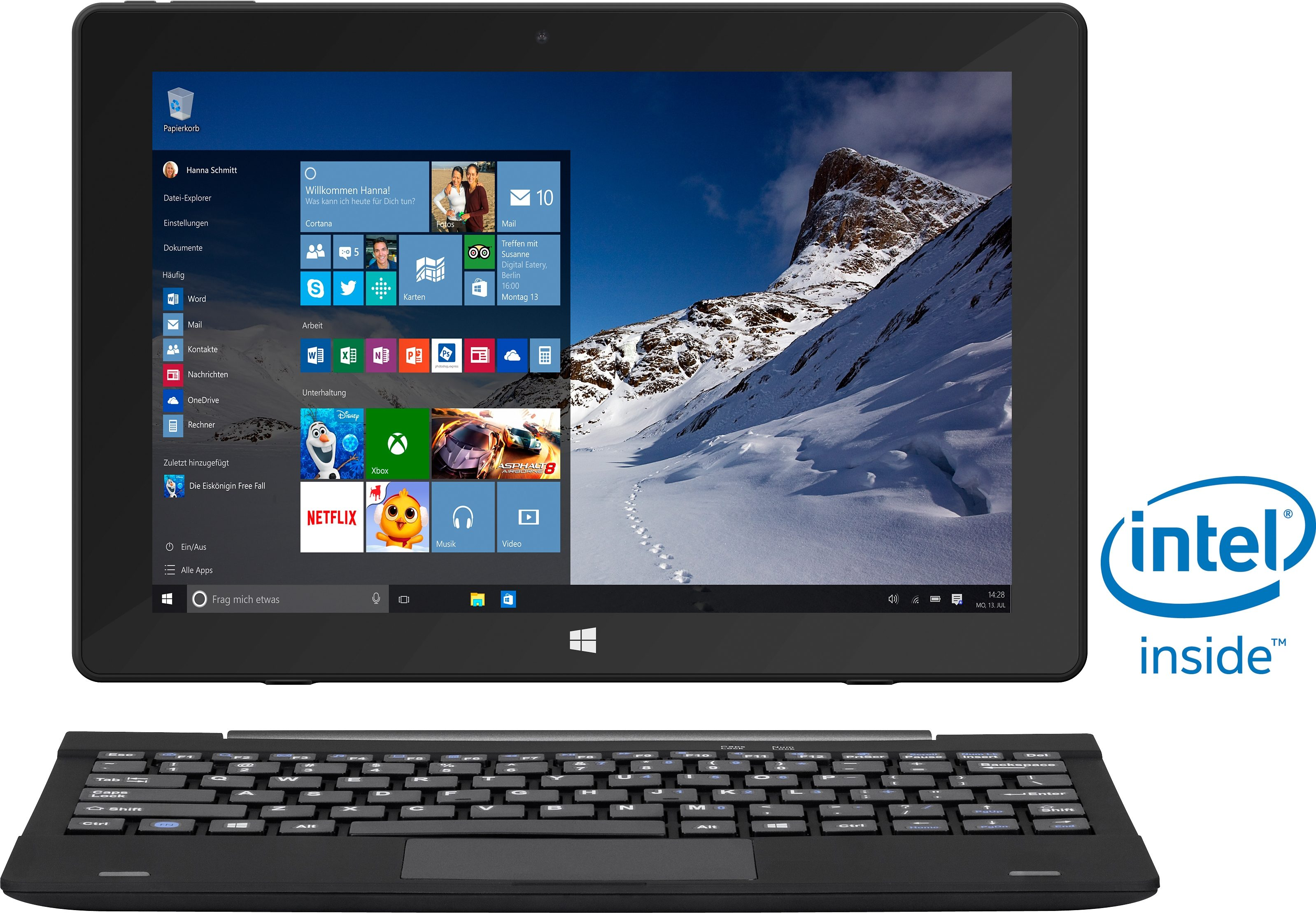 TrekStor SurfTab twin 10.1 Convertible Notebook, Intel® Atom™, 25,7 cm (10,1 Zoll), 32 GB Speicher