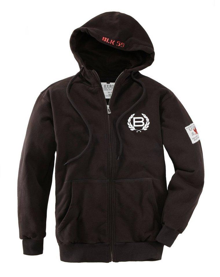 Sweatshirt mit Kapuze und Reißverschluss in schwarz