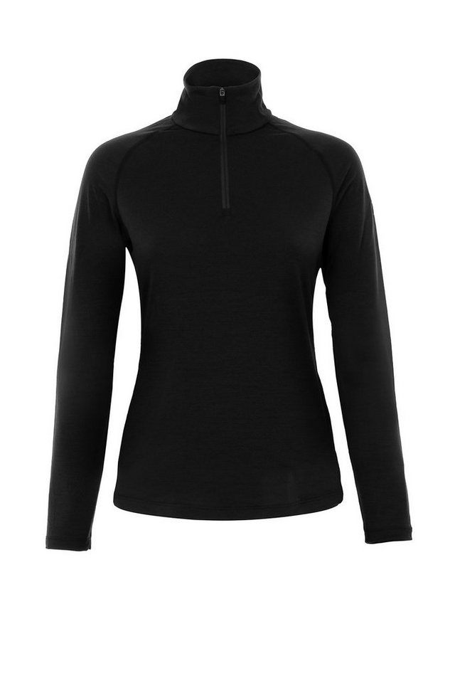 Super.Natural Merino Longsleeve »W BASE 1/4 ZIP 230« in CAVIAR