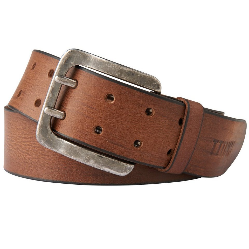 TOM TAILOR DENIM Gürtel »vintage leather belt with two prongs« in brandy