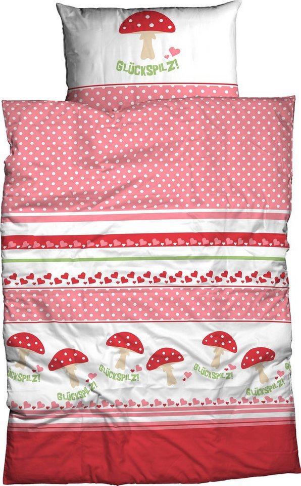 Kinderbettwäsche »Glückspilz«, ADELHEID, mit Motiven | Kinderzimmer > Textilien für Kinder > Kinderbettwäsche | Rosa | ADELHEID