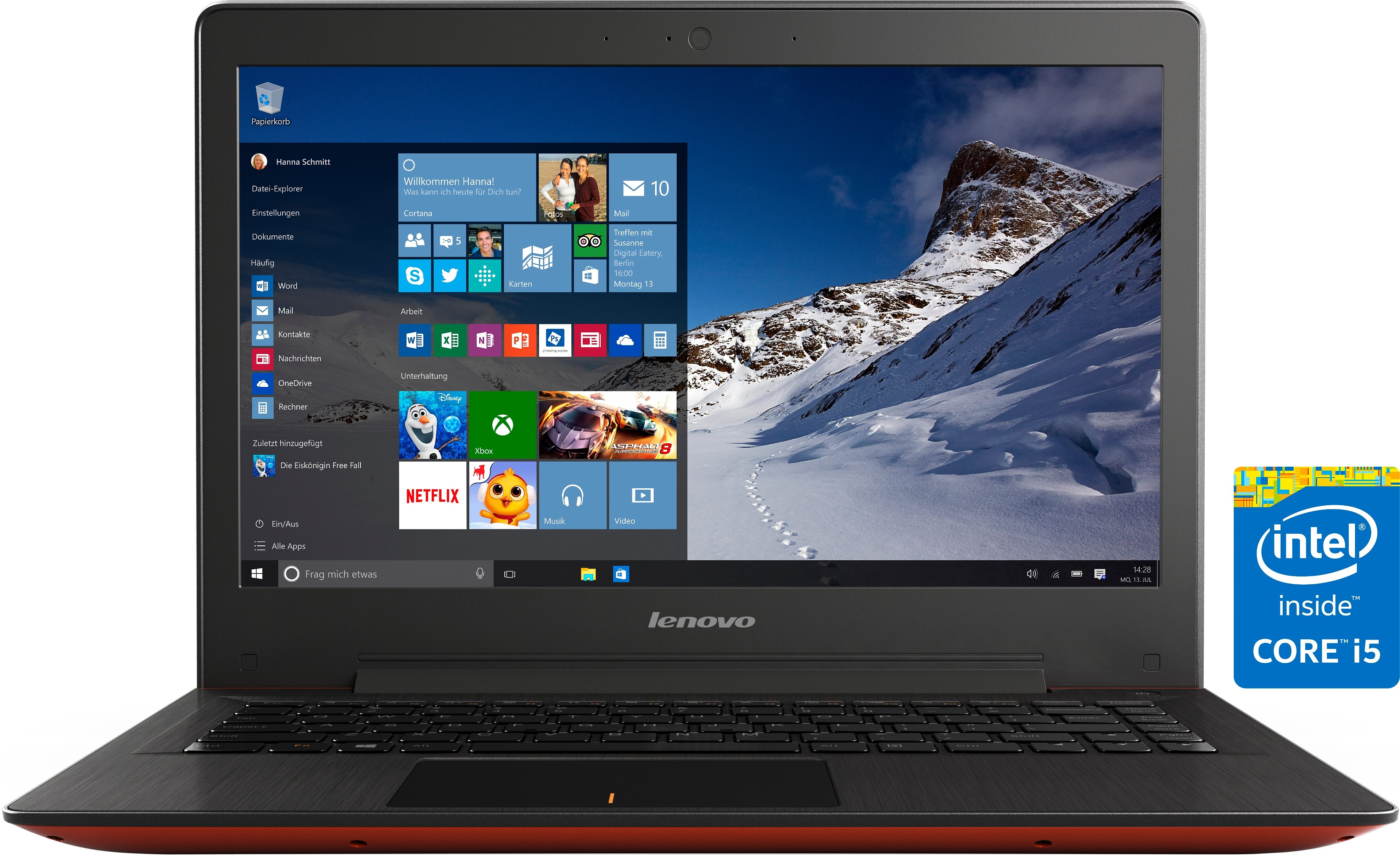 Lenovo U31-70 Notebook, Intel® Core™ i5, 33,7 cm (13,3 Zoll), 128 GB Speicher, 4096 MB DDR3L-SDRAM