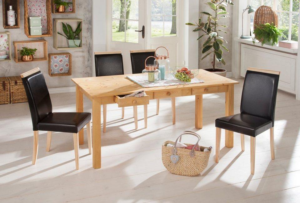 home affaire essgruppe 5 tlg aus kiefernholz gelaugt. Black Bedroom Furniture Sets. Home Design Ideas