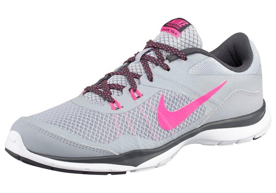 Nike Flex Trainer 5 Wmns Fitnessschuh in Hellgrau-Neon-Pink