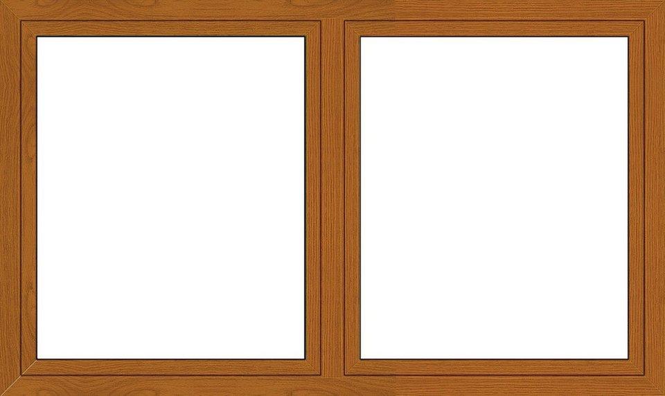 Kunststoff-Fenster, Festmaß »BxH: 170 x 120 cm« zweiflügelig, eichefarben-dunkel in eichefarben-dunkel