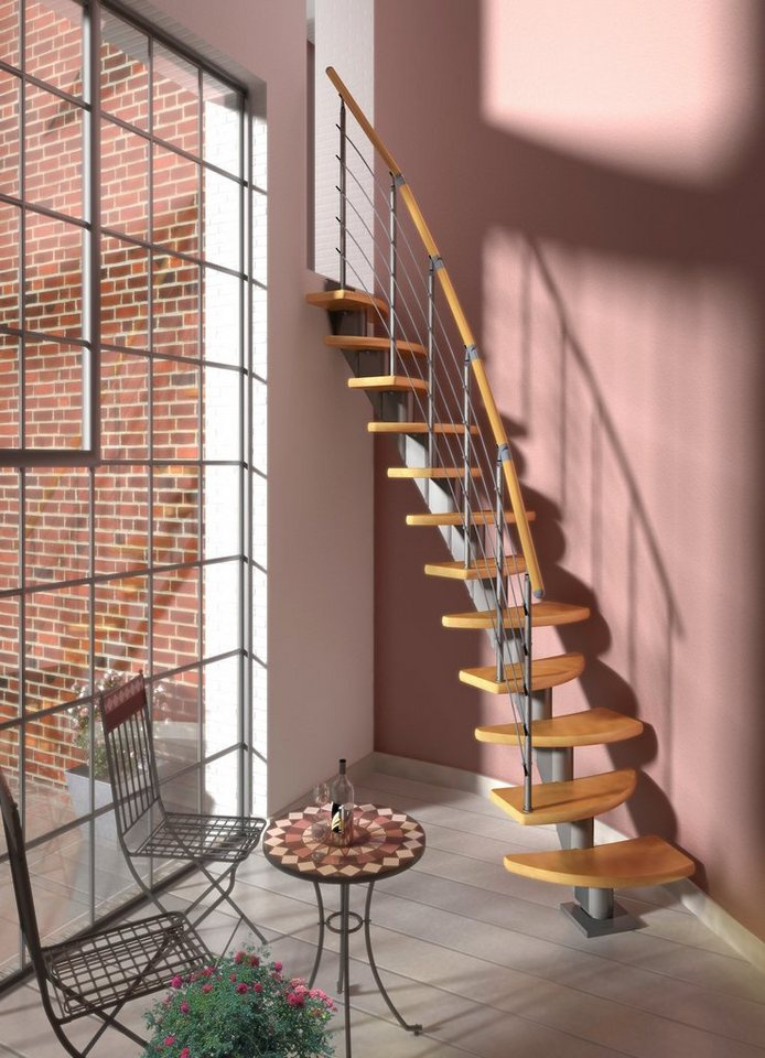 DOLLE Systemtreppe »Berlin«, Edelstahlgeländer mit Holzhandlauf aus Buche, BxH: 64x315 cm in grau
