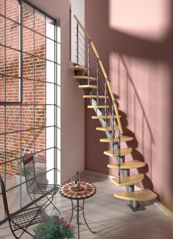 DOLLE Systemtreppe »Berlin«, Edelstahlgeländer mit Holzhandlauf aus Birke, BxH: 64x315 cm in grau