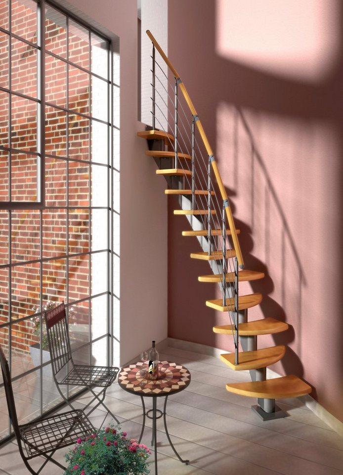 DOLLE Systemtreppe »Berlin«, Edelstahlgeländer mit Holzhandlauf aus Buche, BxH: 64x247 cm in grau