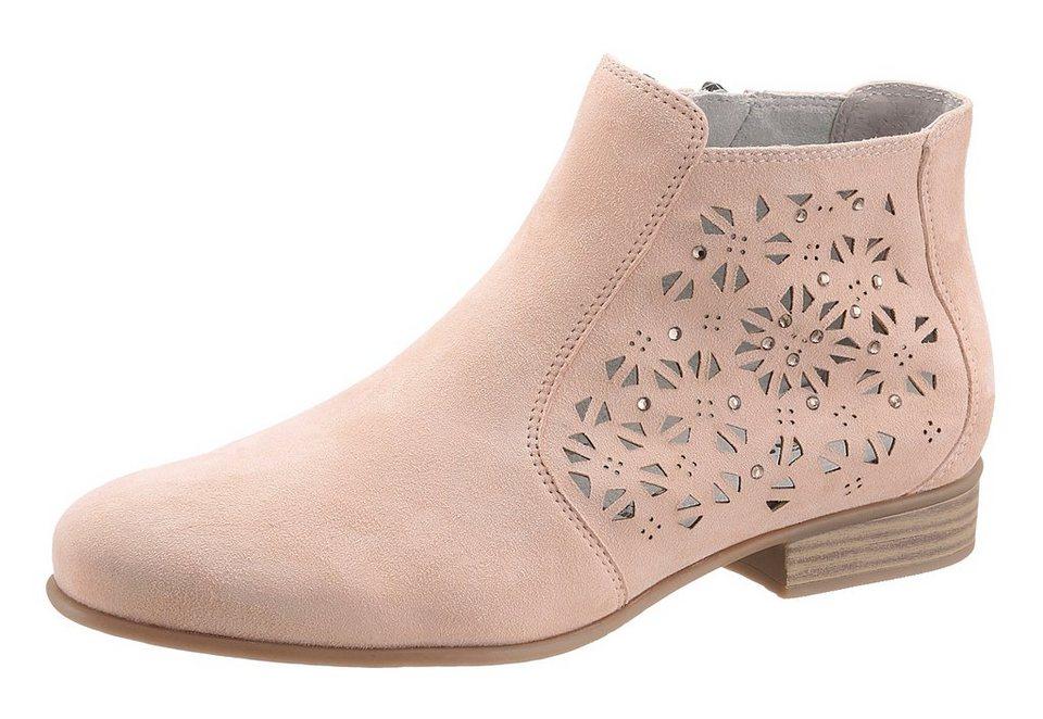 Tamaris Ankle Boots mit Prägung und Schmucksteine in rose