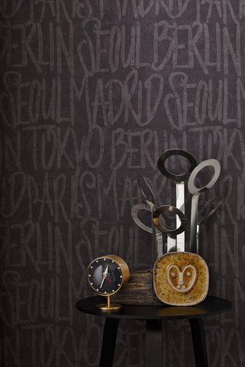 Vliestapete »mit Schrift«, grafisch, gemustert, mit Schrift, Stadt, strukturiert