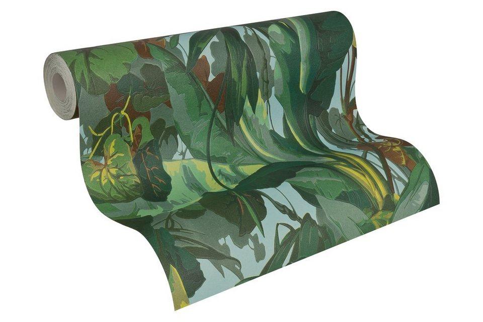 Papiertapete, Livingwalls, »Mustertapete Dekora Natur in Dschungeloptik« in blau braun grün
