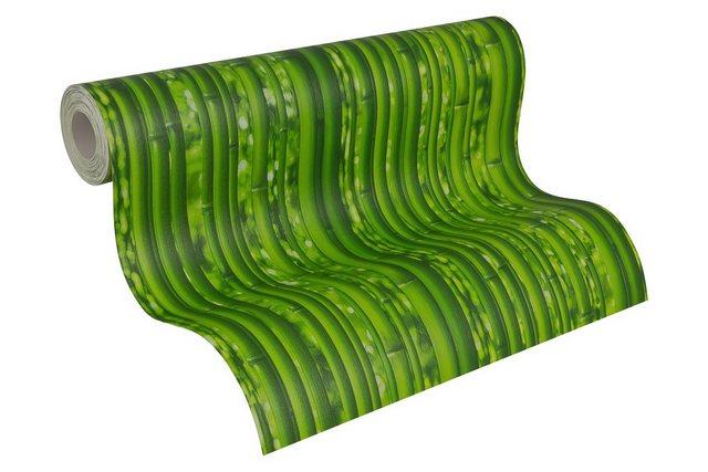 Livingwalls Papiertapete, Mustertapete Dekora Natur Bambus, grün