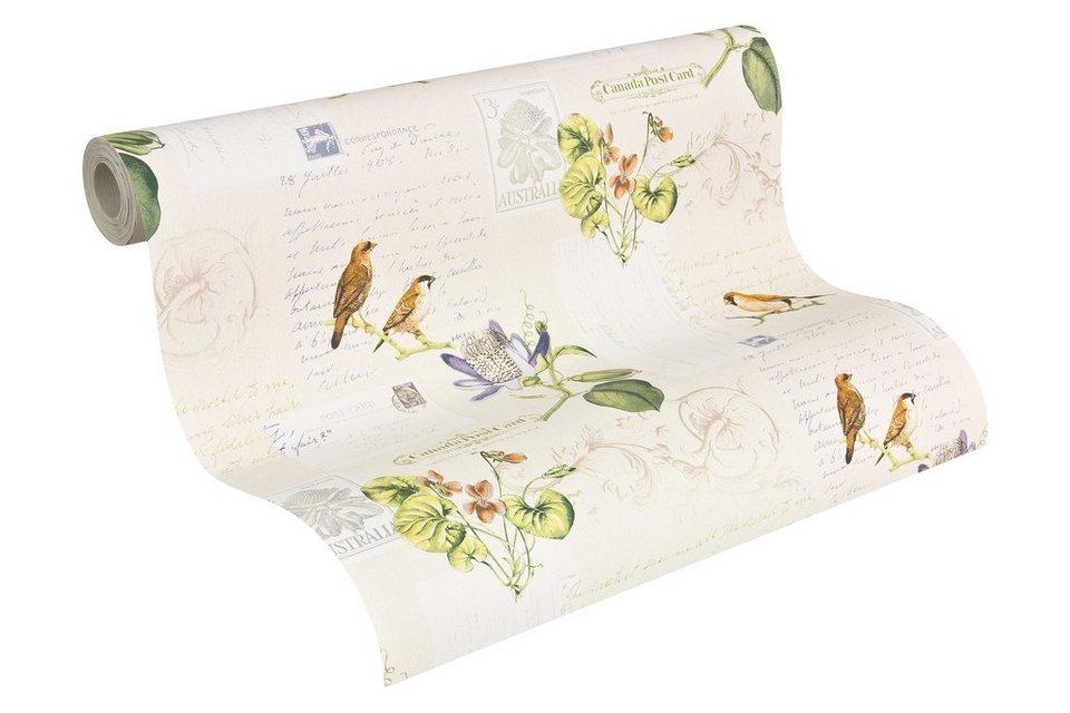 Papiertapete, Livingwalls, »Mustertapete Dekora Natur Vögel« in bunt creme grün