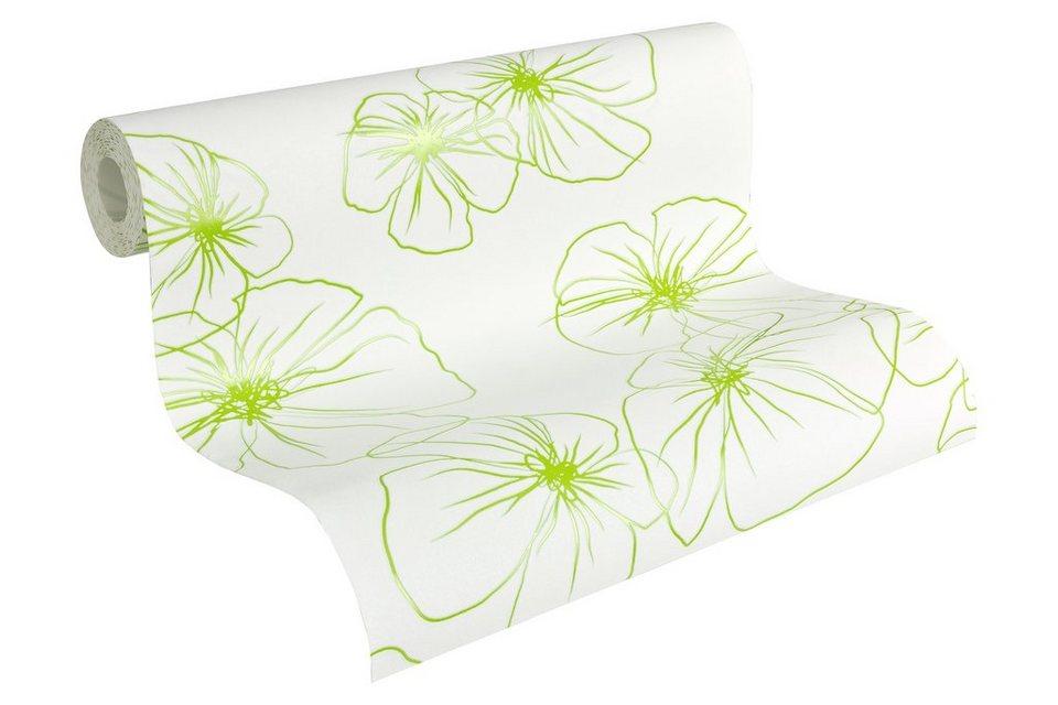 Vliestapete, Lars contzen, »Mustertapete Flower Drawings« in grün-weiß