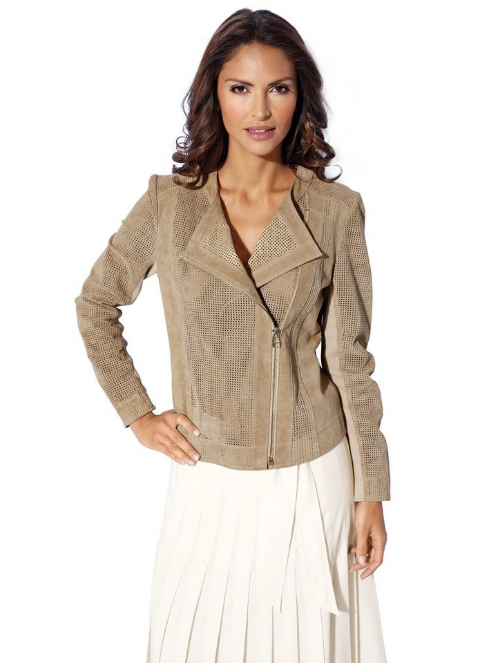 Lederjacke, Porcvelours in taupe