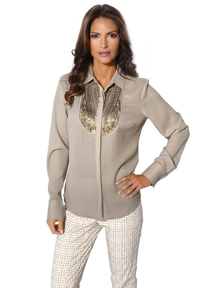 ASHLEY BROOKE by Heine Chiffonbluse mit Pailletten in taupe
