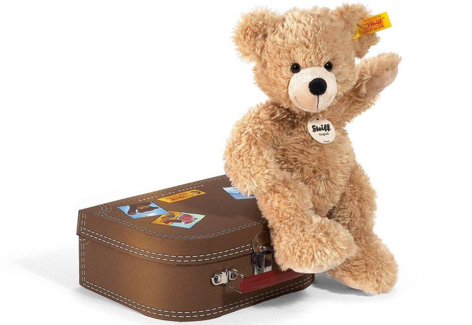 Steiff Plüschtier, 28 cm, »Fynn Teddybär im Koffer« in beige