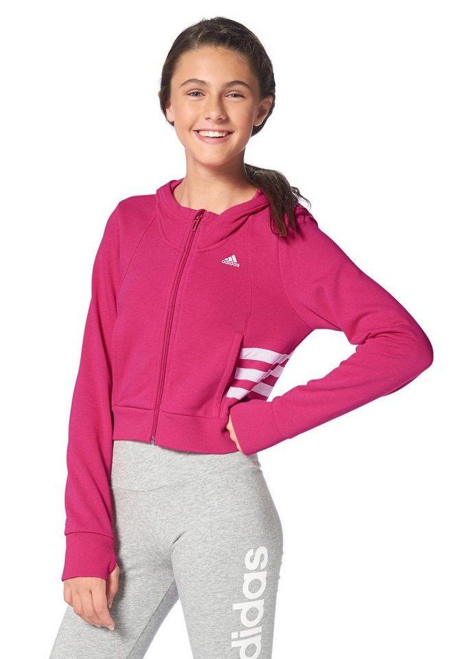 adidas Performance WARDROBE STYLE CROP FULL ZIP HOODIE Kapuzensweatjacke in Pink-Weiß
