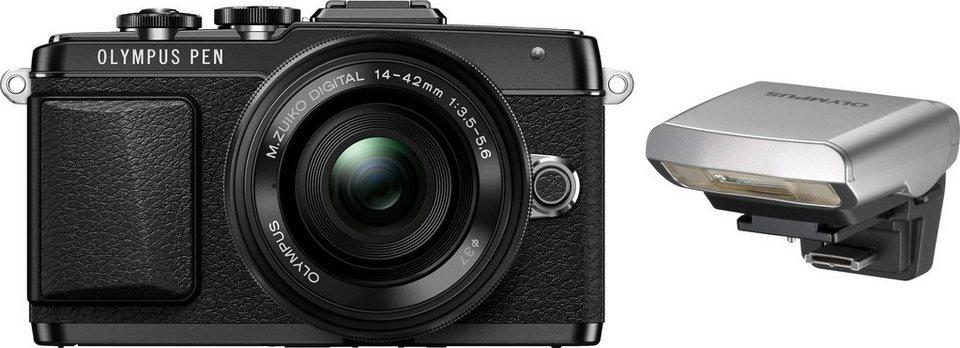 Olympus PEN E-PL7 System Kamera, M.ZUIKO DIGITAL ED 14-42 1:3.5-5.6 EZ Pancake, 16,1 Megapixel in schwarz