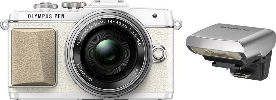 Olympus PEN E?PL7 System Kamera, M.ZUIKO DIGITAL ED 14-42 1:3.5-5.6 EZ Pancake, 16,1 Megapixel in weiß/silberfarben