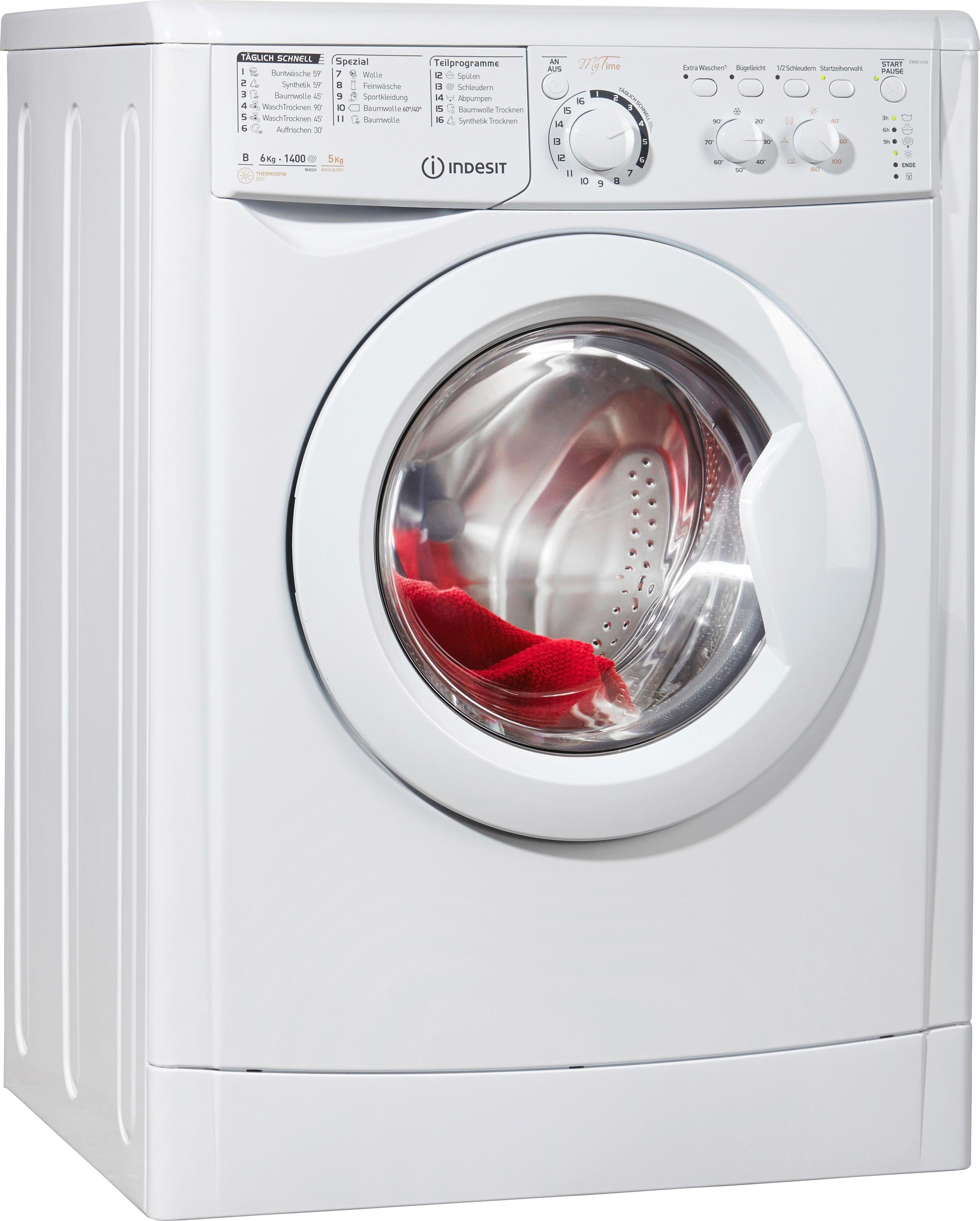 Indesit Waschtrockner EWDC 6145 W DE, B, 6 kg / 5 kg, 1.400 U/Min