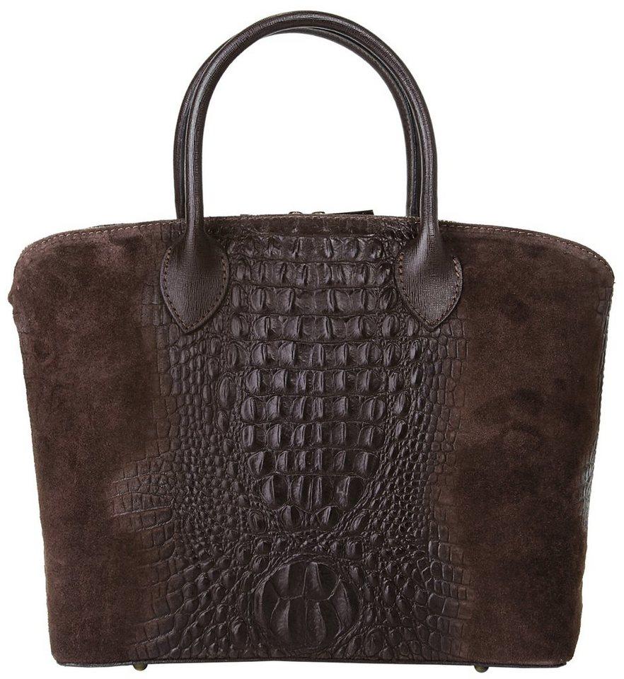 Cluty Leder Damen Handtasche in dunkelbraun