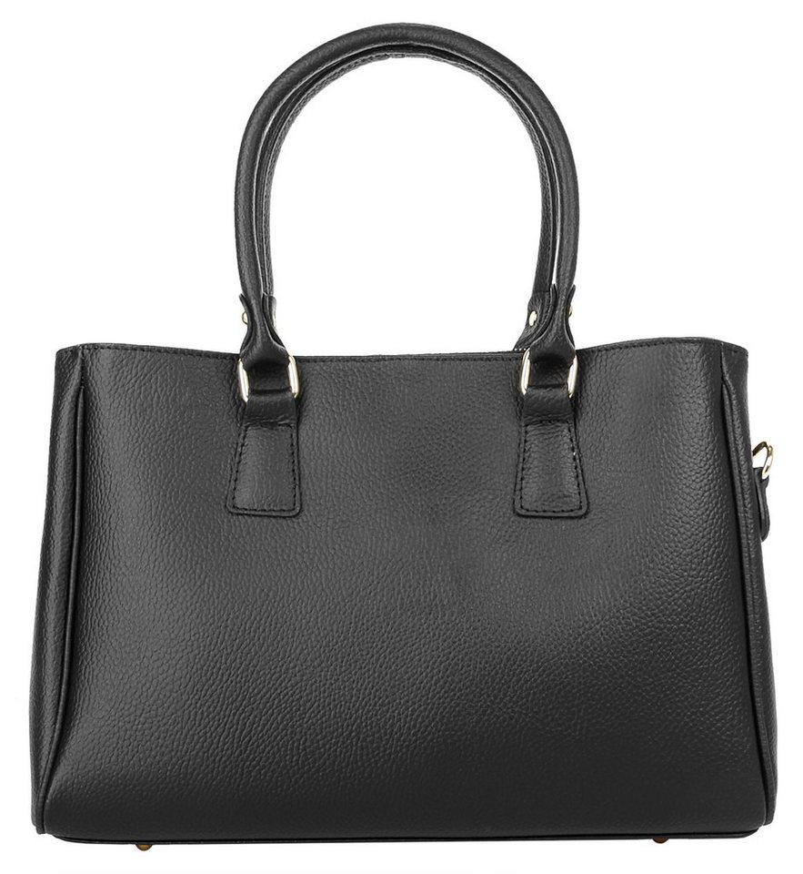 Cluty Leder Damen Handtasche in schwarz