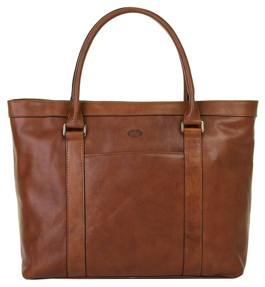 piké Leder Damen Shopper in braun