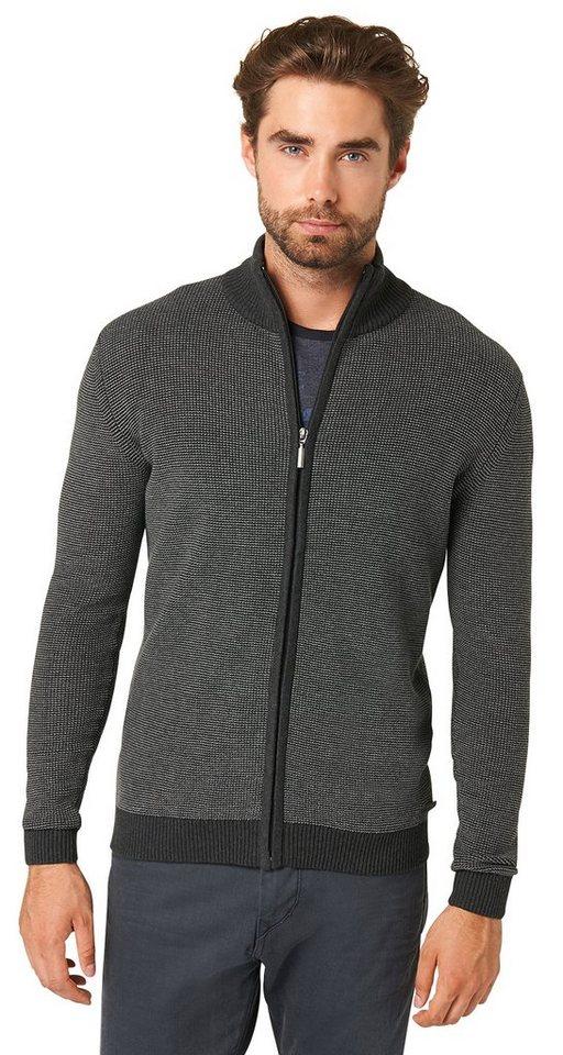 TOM TAILOR Pullover »schlichte Strickjacke mit Zipper« in black grey melange