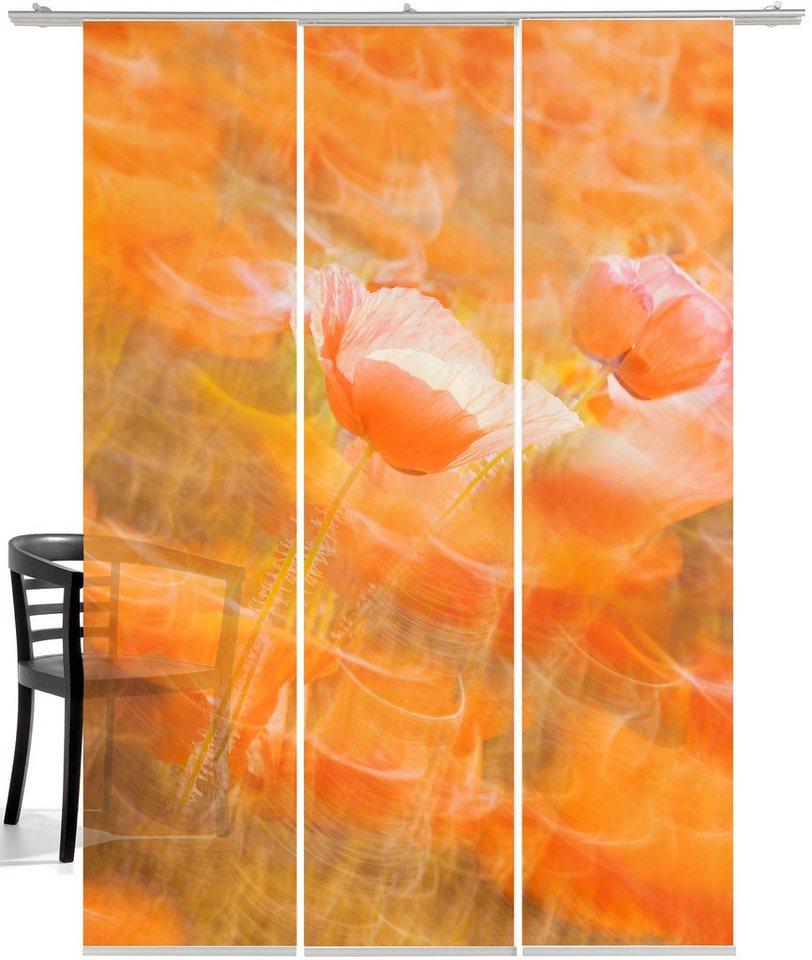 Schiebegardine, Emotiontextiles, »Tanzender Mohn« (3 Stück mit Zubehör) in Rot-orange