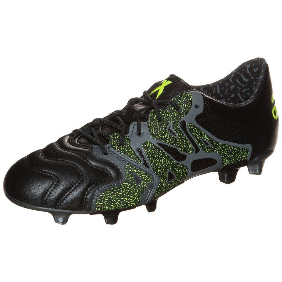 adidas Performance X 15.1 FG/AG Leather Fußballschuh Herren in schwarz / anthrazit