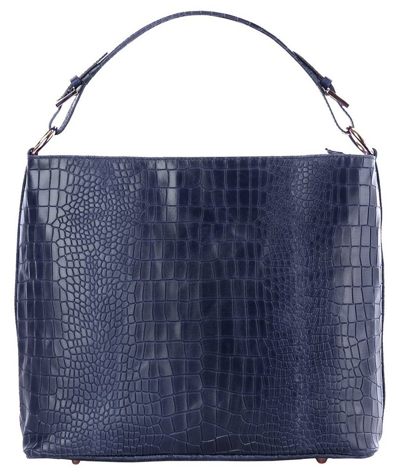 Cluty Leder Damen Shopper in blau