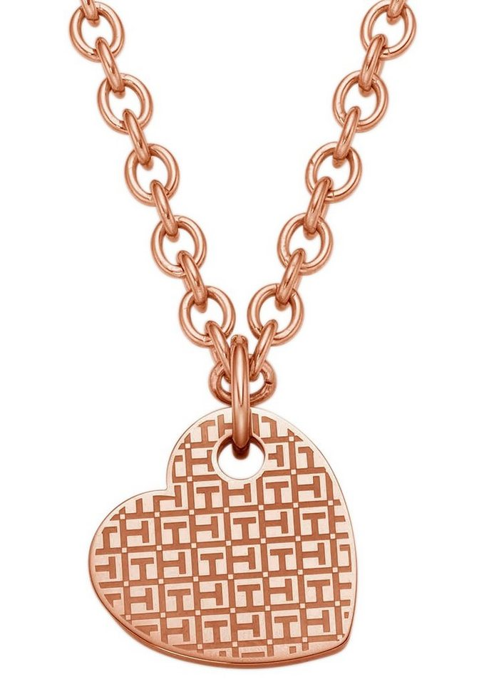 Tommy Hilfiger Jewelry Kette mit Anhänger, »2700717, Classic Signature, Herz« in Edelstahl, roségoldfarben