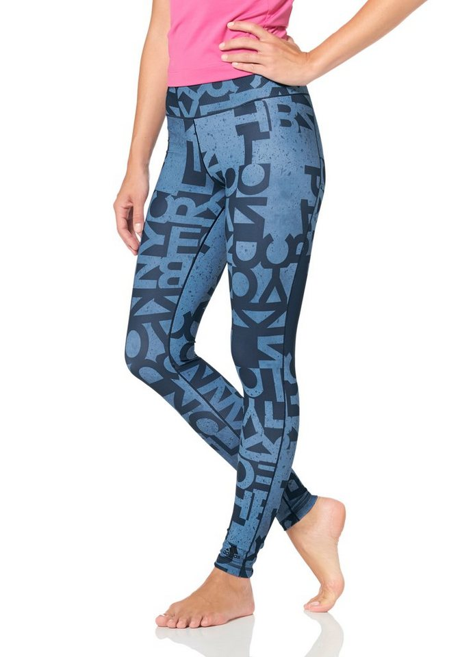 adidas Performance WORKOUT LONG TIGHT TYPO Funktionstights in Dunkelblau