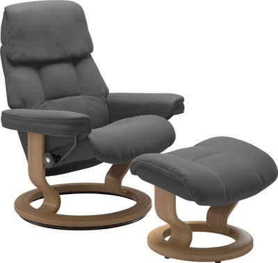 Stressless® Relaxsessel »Ruby« (Set, Relaxsessel mit Hocker), mit Classic Base, Größe M, Gestell Eiche, Wenge, Braun & Schwarz